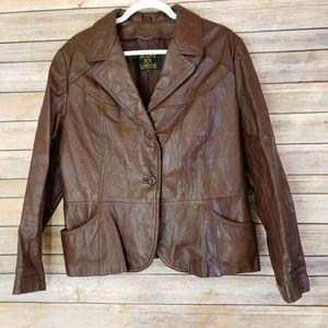 Vintage Avant Garde Brown Leather Coat Jacket Sz L